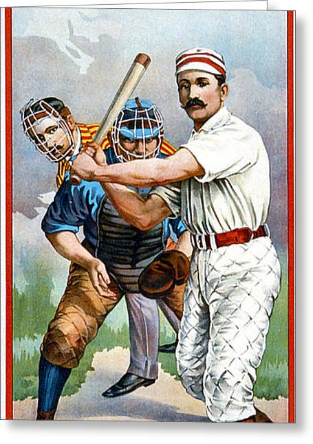 Grate Digital Greeting Cards - Baseball Player At Bat Greeting Card by Unknown