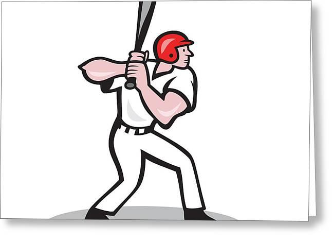 Baseball Player Batting Side Cartoon Greeting Card by Aloysius Patrimonio