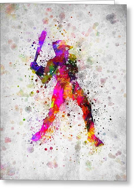 Baseball Game Greeting Cards - Baseball Player - Holding Baseball Bat Greeting Card by Aged Pixel