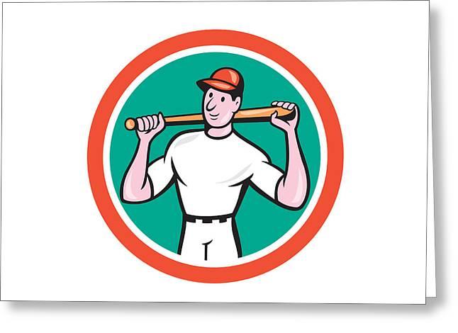 Baseball Bat Greeting Cards - Baseball Player Holding Bat Cartoon Greeting Card by Aloysius Patrimonio