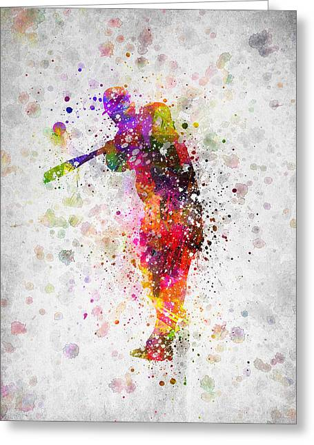 Baseball Game Greeting Cards - Baseball Player - Taking a swing Greeting Card by Aged Pixel