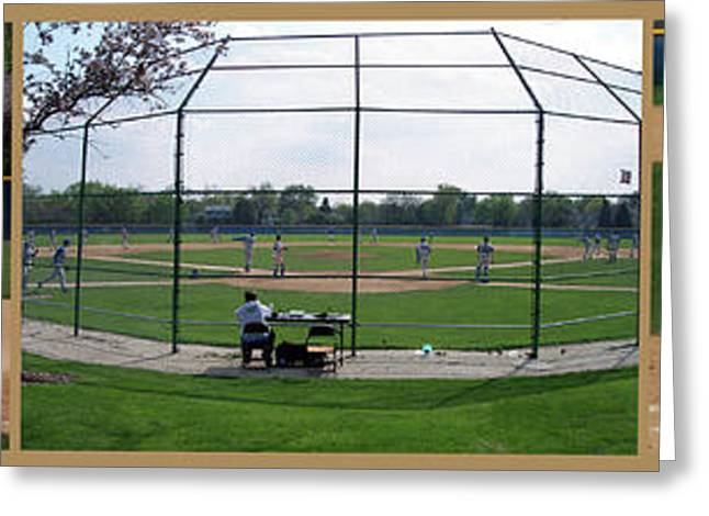 Baseball Playing Hard 3 Panel Composite 01 Greeting Card by Thomas Woolworth