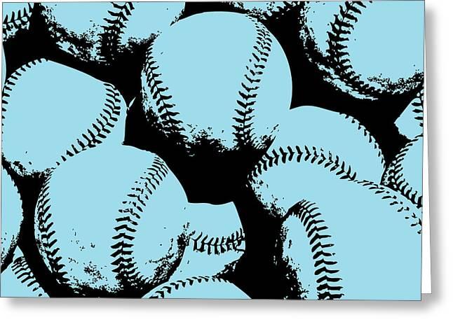 Baseball Pop Art Blue Greeting Card by Flo Karp