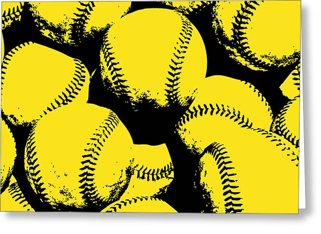 Baseball Pop Art Yellow Greeting Card by Flo Karp