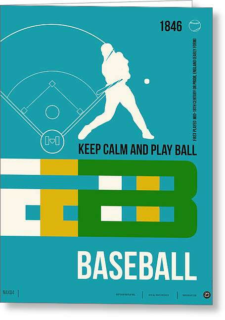 Brainy Greeting Cards - Baseball Poster Greeting Card by Naxart Studio