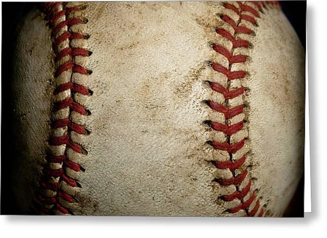 Baseball Seams Greeting Card by David Patterson