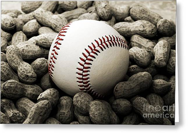 Baseball Photographs Greeting Cards - Baseball Season Edgy BW 2 Greeting Card by Andee Design