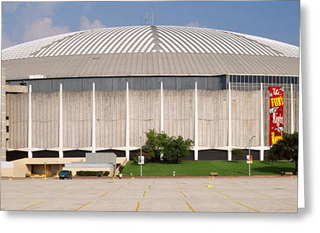 Building Exterior Photographs Greeting Cards - Baseball Stadium, Houston Astrodome Greeting Card by Panoramic Images