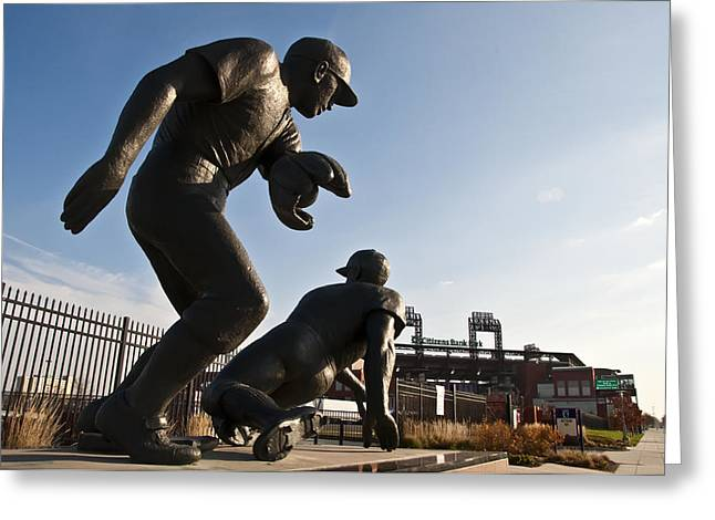 Baseball Statue at Citizens Bank Park Greeting Card by Bill Cannon