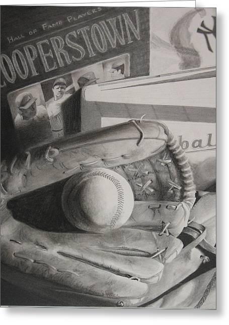 Baseball Mitt Drawings Greeting Cards - Baseball Still Life Greeting Card by Melissa Unruh