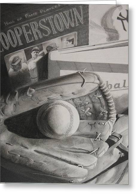 Mitt Drawings Greeting Cards - Baseball Still Life Greeting Card by Melissa Unruh