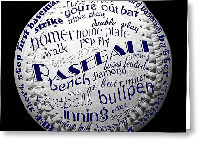 Baseball Fine Art Greeting Cards - Baseball Terms Typography 2 Greeting Card by Andee Design