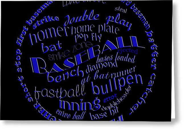 Baseball Art Digital Art Greeting Cards - Baseball Terms Typography Blue On Black Greeting Card by Andee Design