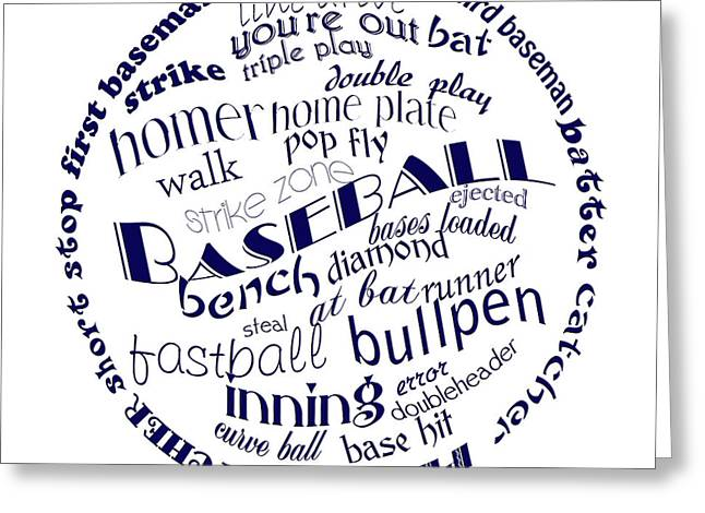 Baseball Art Digital Art Greeting Cards - Baseball Terms Typography Blue On White Greeting Card by Andee Design