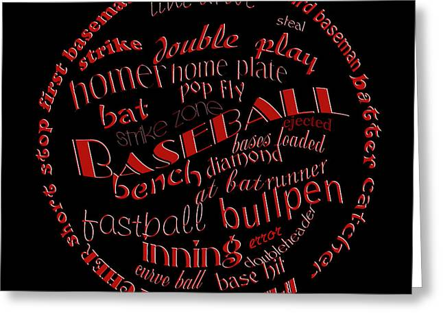 Baseball Art Digital Art Greeting Cards - Baseball Terms Typography Red On Black Greeting Card by Andee Design