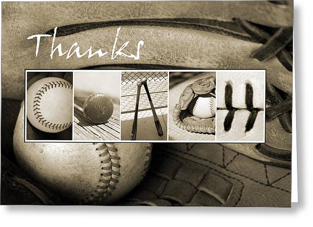 Recently Sold -  - Baseball Glove Greeting Cards - Baseball Thanks Coach Greeting Card by Kathy Stanczak