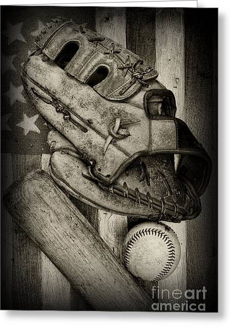 Baseball Bat Greeting Cards - Baseball the Lefty in black and white Greeting Card by Paul Ward