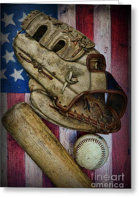 Baseball Bat Greeting Cards - Baseball the Lefty Greeting Card by Paul Ward