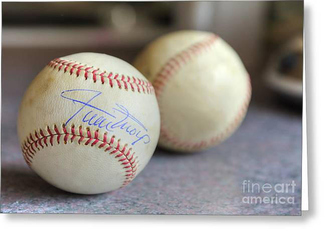 Autographed Baseball Greeting Cards - Baseball Treasures Greeting Card by Dianne Phelps