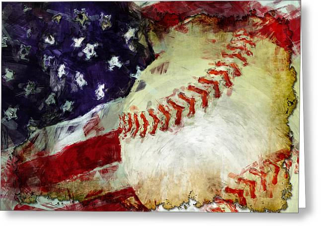 Baseball Usa Greeting Card by David G Paul