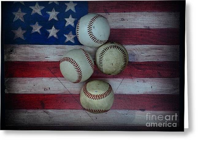 Baseball Game Greeting Cards - Baseball USA Greeting Card by Paul Ward