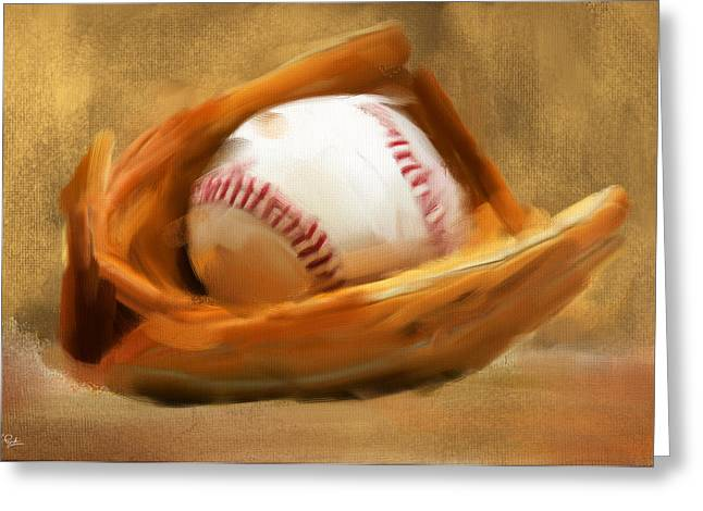 Baseball Game Greeting Cards - Baseball V Greeting Card by Lourry Legarde