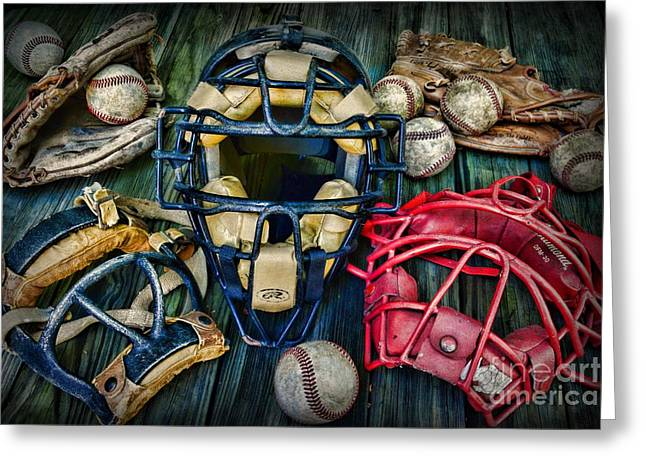 Minor League Greeting Cards - Baseball Vintage Gear Greeting Card by Paul Ward