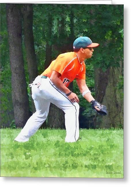 Summer Greeting Cards - Baseball - Warming Up Before the Game Greeting Card by Susan Savad
