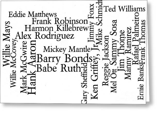 Word Cloud Greeting Cards - Baseballs 500-Career Home Run Hitters Greeting Card by David Bearden