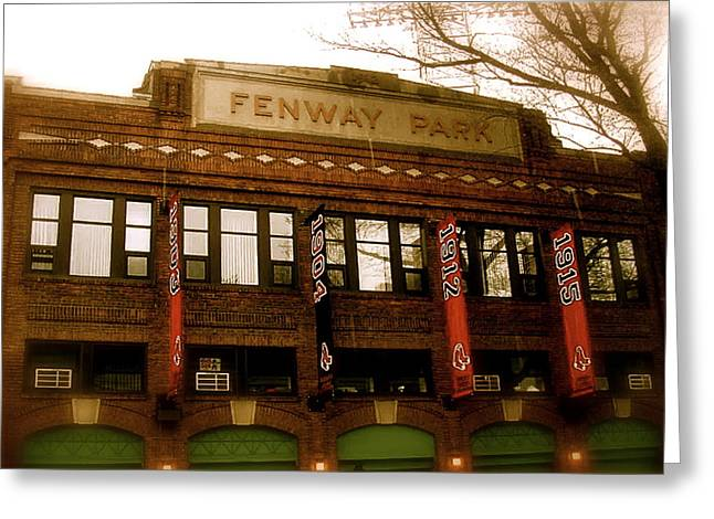 Street Art Greeting Cards - Baseballs Classic  V Bostons Fenway Park Greeting Card by Iconic Images Art Gallery David Pucciarelli