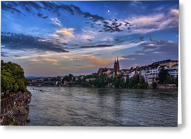 Minster Greeting Cards - Basel Bathed in Moonlight Greeting Card by Carol Japp