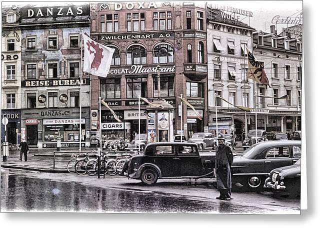 European Bicycle Shop Greeting Cards - Basel Switzerland 1950s Greeting Card by Eric  Bjerke Sr