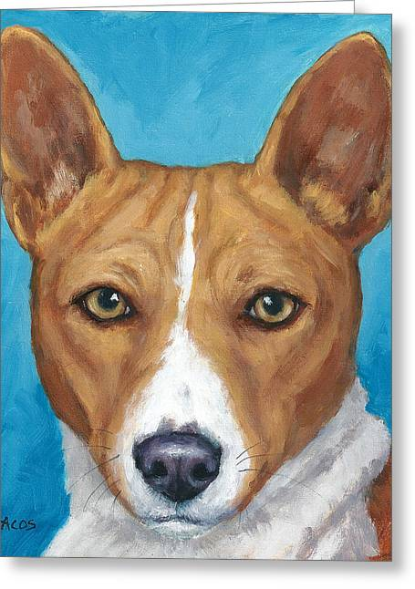 Draco Greeting Cards - Basenji Portrait on Blue Greeting Card by Dottie Dracos