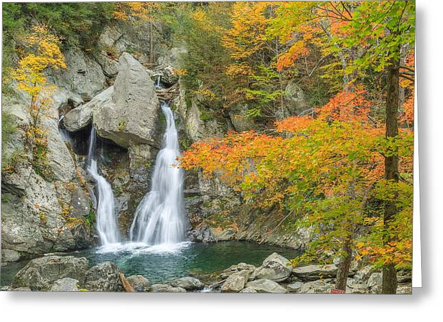 The Berkshires Greeting Cards - Bash Bish Falls Square Greeting Card by Bill  Wakeley