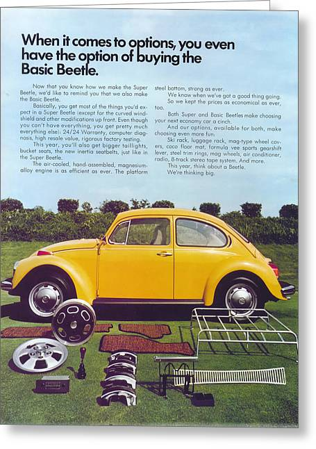 Vw Beetle Greeting Cards - Basic Beetle  Greeting Card by Nomad Art And  Design