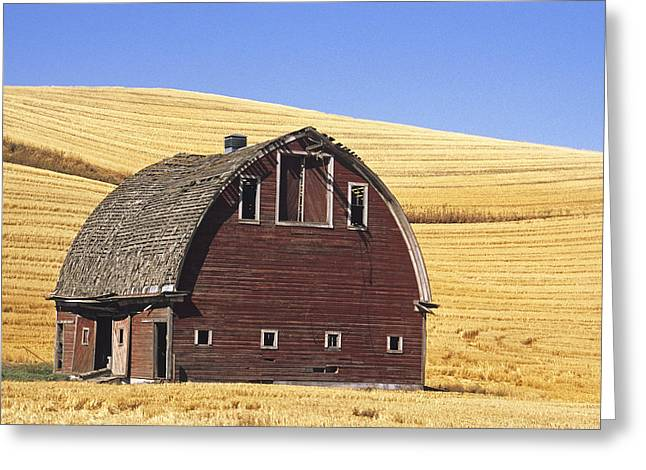 Contour Farming Greeting Cards - Basic Palouse Barn Greeting Card by Latah Trail Foundation