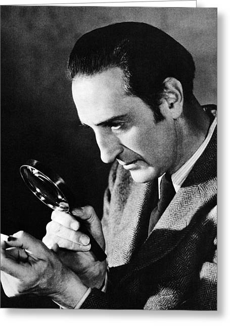 1940Õs Greeting Cards - Basil Rathbone in Sherlock Holmes and the Voice of Terror  Greeting Card by Silver Screen