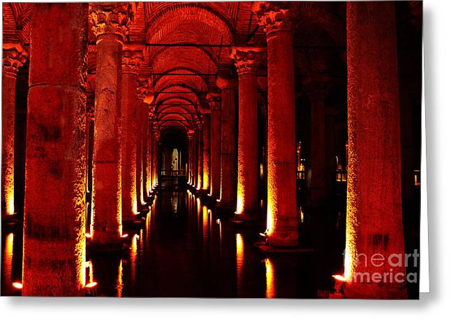 Byzantine Greeting Cards - Basilica Cistern Greeting Card by Emily Enz
