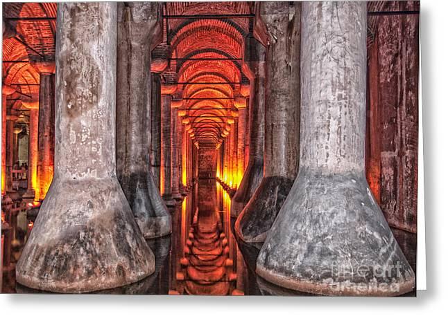 Medusa Greeting Cards - basilica cistern HDR Greeting Card by Antony McAulay