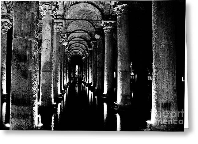 Byzantine Greeting Cards - Basilica Cistern in Black and White Greeting Card by Emily Enz