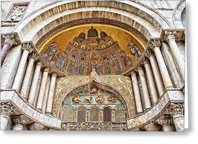 Basilica Di San Marco Greeting Card by Delphimages Photo Creations