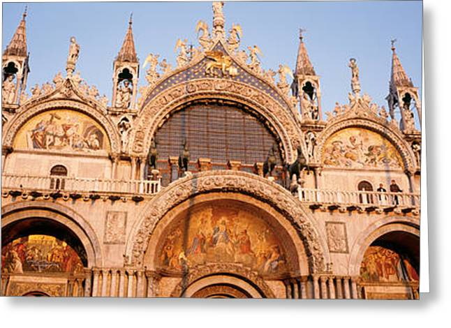 Historic Statue Greeting Cards - Basilica Di San Marco Venice Italy Greeting Card by Panoramic Images