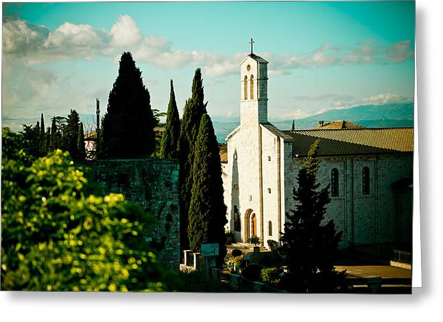 Christianity Pyrography Greeting Cards - Basilica in Assisi  Greeting Card by Raimond Klavins
