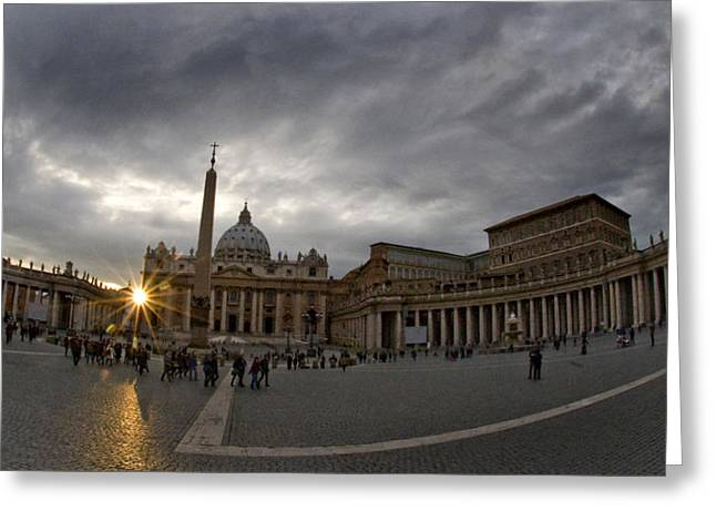 Basilica In The Town Square At Sunset Greeting Card by Panoramic Images
