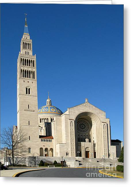 District Columbia Greeting Cards - Basilica in Washington DC Greeting Card by Olivier Le Queinec