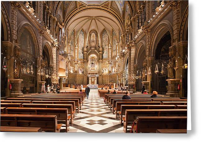 Historic Architecture Greeting Cards - Basilica Interior of the Montserrat Monastery in Catalonia Greeting Card by Artur Bogacki