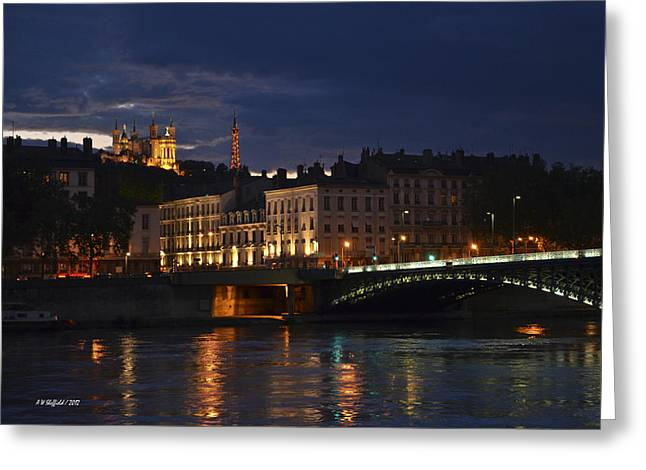 Universite Lumiere Greeting Cards - Basilica Notre Dame de Fourviere from across the Rhone River Greeting Card by Allen Sheffield