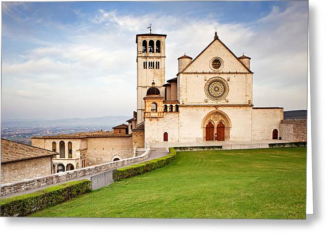 San Francesco Greeting Cards - Basilica of Saint Francis Greeting Card by Susan  Schmitz