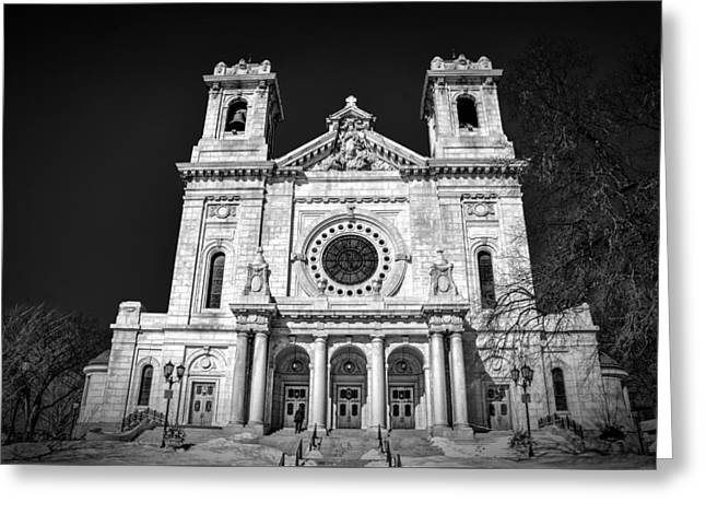 1907 Greeting Cards - Basilica of Saint Mary BW Greeting Card by Todd and candice Dailey
