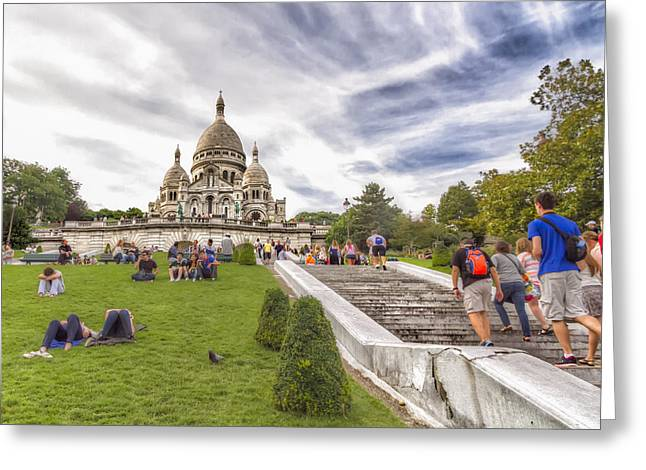 Basilica Of The Sacred Heart Of Paris Greeting Card by Tim Stanley